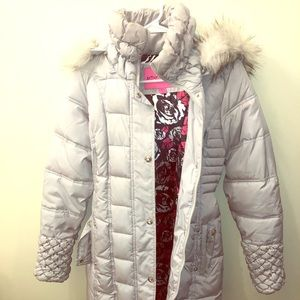 Light Grey Betsey Johnson Puffer Coat w/ Fur
